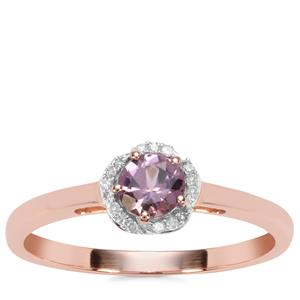 Mahenge Spinel Ring with Diamond in 9K Rose Gold 0.44ct