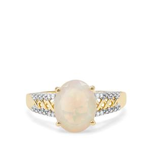 Ethiopian Opal & Diamond 9K Gold Ring ATGW 1.57cts