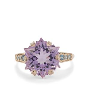 Wobito Snowflake Cut Rose De France Amethyst Ring with Marambaia London Blue Topaz in 9K Gold 7.35cts