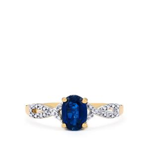 Daha Kyanite Ring with Diamond in 9K Gold 1.04cts