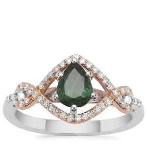 Tsavorite Garnet Ring with Diamond in 18K Two Tone Gold 1.21cts