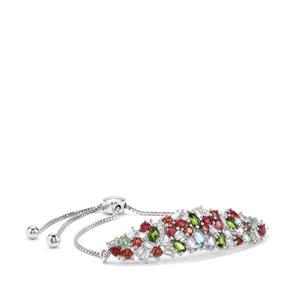 8.36ct Kaleidoscope Gemstones Sterling Silver Slider Bracelet