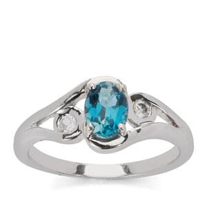 Ceylonese London Blue Topaz & White Zircon Sterling Silver Ring ATGW 1.22cts