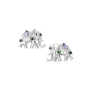 Tanzanite,Tsavorite Garnet Earrings with White Zircon in Sterling Silver 0.64ct