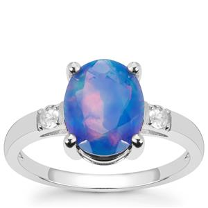 Ethiopian Blue Opal Ring with White Topaz in Sterling Silver 1.75cts