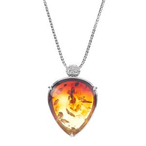 Baltic Ombre Amber Slider Necklace in Sterling Silver (32 x 26mm)