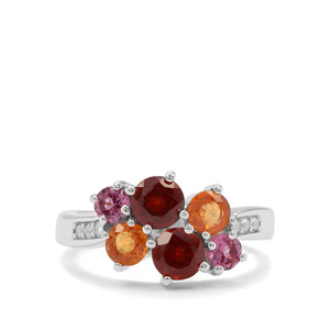Gooseberry Grossular, Mandarin, Rajasthan Garnet & White Zircon Sterling Silver Ring ATGW 2.67cts