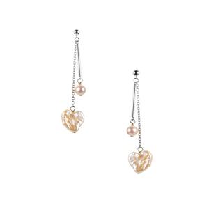 Baroque & Kaori Cultured Pearl Earrings in Rhodium Plated Sterling Silver