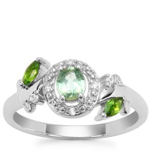 Odisha Kyanite, Chrome Diopside Ring with White Zircon in Sterling Silver 0.69ct