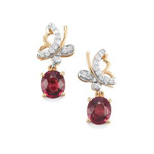 Malawi Garnet Earrings with Diamond in 18K Gold 3cts