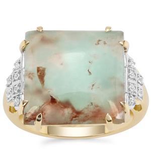 Aquaprase™ & White Zircon 9K Gold Ring ATGW 10.35cts