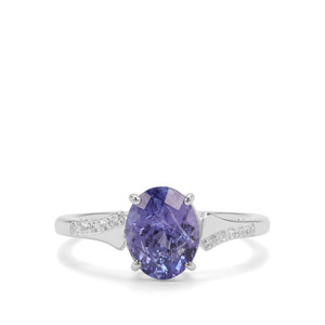 AA Tanzanite & White Zircon Sterling Silver Ring ATGW 2.25cts