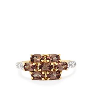 Color Change Garnet Ring with Diamond in 10k Gold 2.13cts