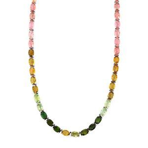 Rainbow Tourmaline Necklace in Sterling Silver 29.56cts