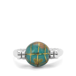 Atlas Globe & White Zircon Sterling Silver Ring