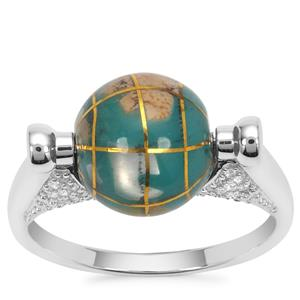 Atlas Globe Ring with White Zircon in Sterling Silver