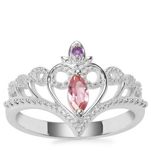 Pink Tourmaline Crown Ring with Bahia Amethyst in Sterling Silver 0.23ct