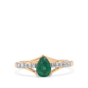 Zambian Emerald Ring with Diamond in 18K Gold 1cts