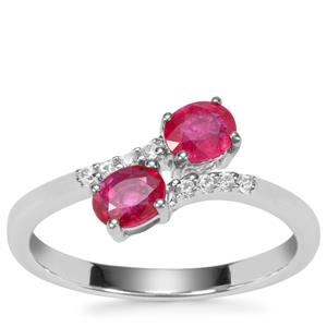 Montepuez Ruby Ring with White Zircon in Sterling Silver with 18K Gold Prong 0.77ct