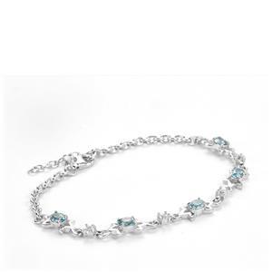 Ratanakiri Blue Zircon & White Topaz Sterling Silver Bracelet ATGW 2.79cts