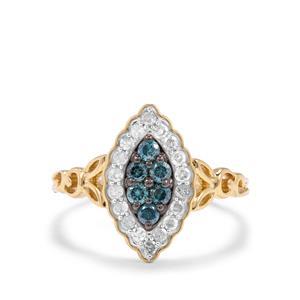 1/2ct Blue & White Diamond 9K Gold Ring