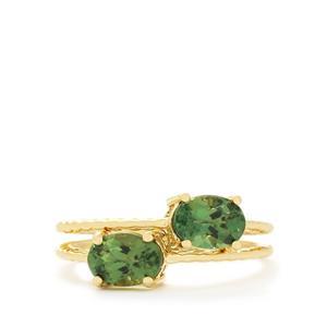1.71ct Mandrare Green Apatite 9K Gold Set of 2 Stacker Rings
