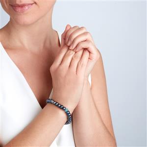 Kaori Cultured Pearl Elastic Bracelet with Blue Quartz in Sterling Silver