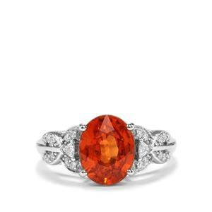 Mandarin Garnet & Diamond 18K White Gold Tomas Rae Ring MTGW 4.03cts