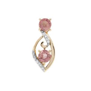 Padparadscha Sapphire Pendant with Diamond in 9K Gold 1.40cts