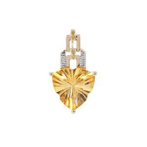 Lehrer Infinity Cut Diamantina Citrine Pendant with Yellow Diamond in 9K Gold 5.24cts