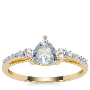 Pedra Azul Aquamarine Ring with Diamond in 9K Gold 0.66ct