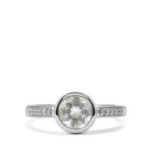 Espirito Santo Aquamarine & White Zircon Sterling Silver Ring ATGW 1.35cts