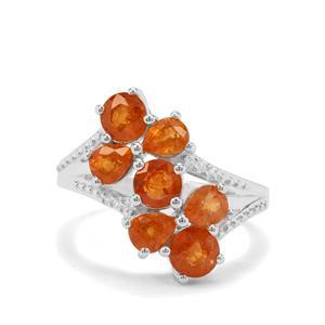 Mandarin Garnet & White Zircon Sterling Silver Ring ATGW 4.22cts