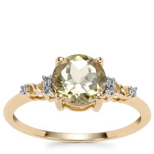 Csarite® Ring with Diamond in 10k Gold 1.51cts