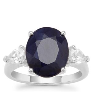 Madagascan Blue Sapphire Ring with White Zircon in Sterling Silver 8.20cts
