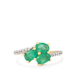 Zambian Emerald Ring with White Zircon in 10k Gold 1.42cts