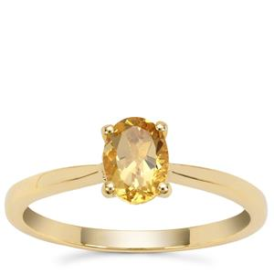 Xia Heliodor Ring with Yellow Diamond in 9K Gold 0.75ct