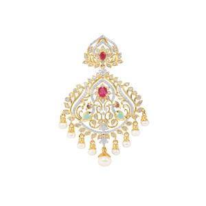 Montepuez Ruby, Sakota Emerald, Kaori Cultured Pearl Pendant with Diamond in Gold Plated Sterling Silver (F)