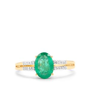 Zambian Emerald Ring with Diamond in 18K Gold 1.23cts
