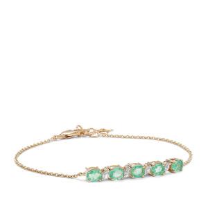 Colombian Emerald & White Zircon 9K Gold Bracelet ATGW 1.98cts