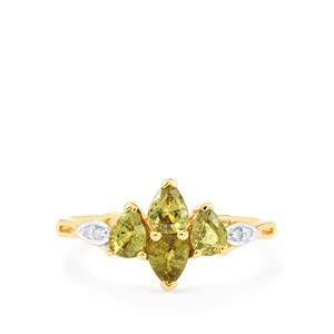 Ambanja Demantoid Garnet & Diamond 10K Gold Ring ATGW 1.18cts