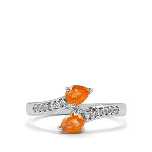 Mandarin Garnet & White Topaz Sterling Silver Ring ATGW 1cts