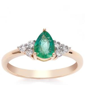 Zambian Emerald Ring with White Zircon in 9K Gold 0.87ct
