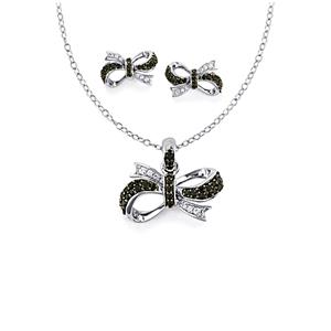 Black Spinel & White Zircon Sterling Silver Sets of Earrings & Pendant Necklace ATGW 1.31cts