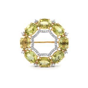 Cuprian Tourmaline & Diamond 18K Gold Lorique Brooch MTGW 6.22cts