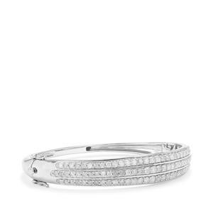 Diamond Bangle in Sterling Silver 4.05ct