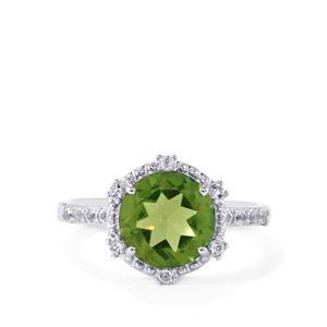 Fern Green Quartz & White Topaz Sterling Silver Ring ATGW 2.89cts