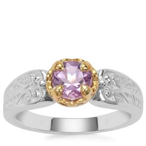 Moroccan Amethyst Ring in Two Tone Gold Plated Sterling Silver 0.69ct