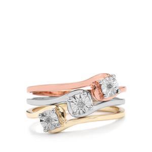 Diamond Three Tone Midas Halo Diamonds Set of 3 Stacker Rings