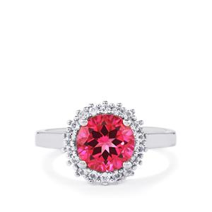 2.63ct Mystic Pink & White Topaz Sterling Silver Ring